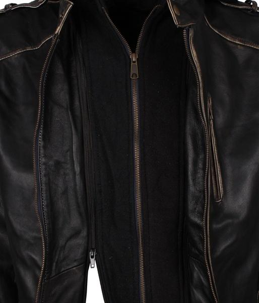 Black Hooded Scarecrow Leather Jacket