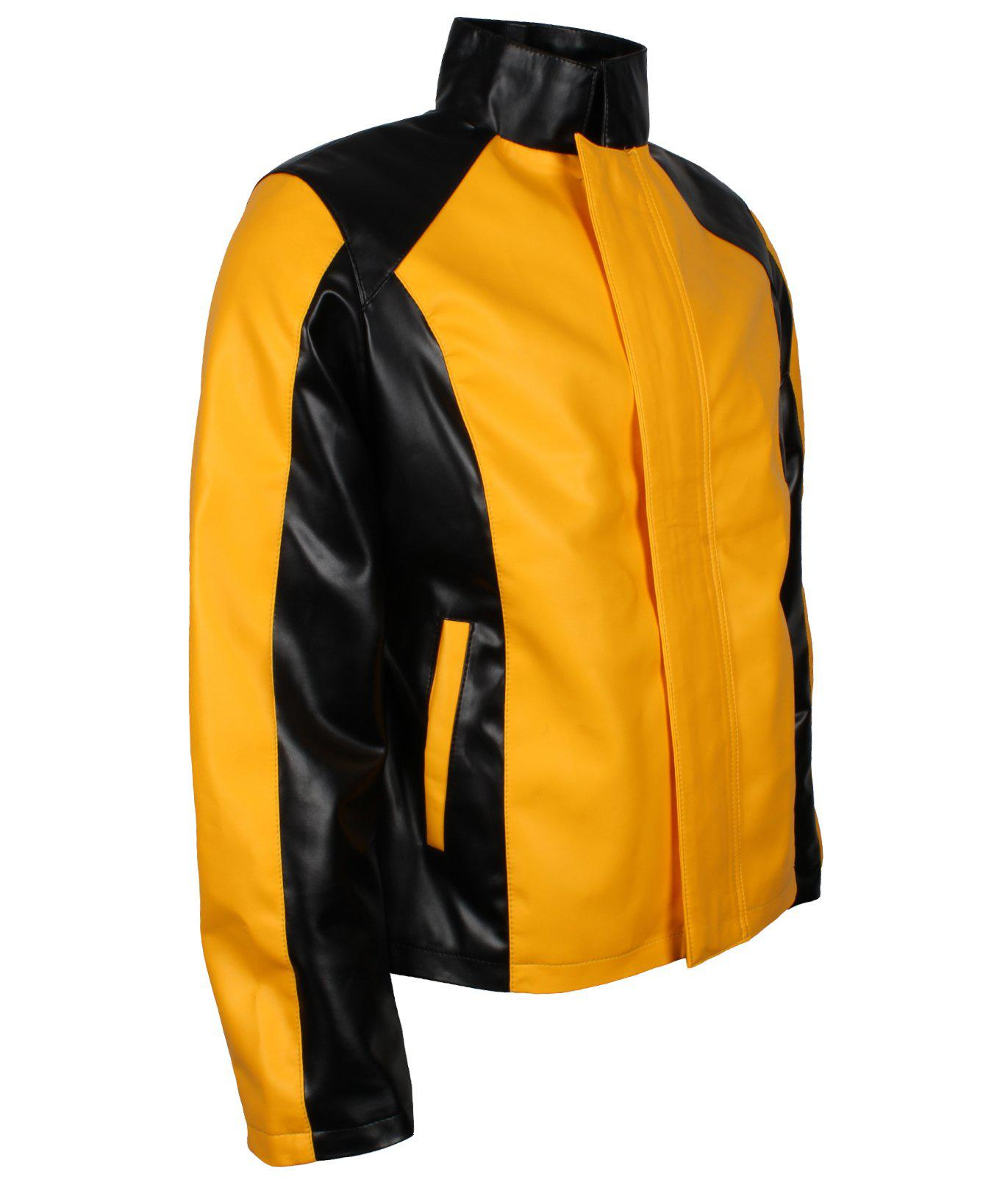 Infamous 2 Cole Macgrath Superhero Gaming Cosplay Costume Faux PU Black and Yellow  Leather Biker Jacket
