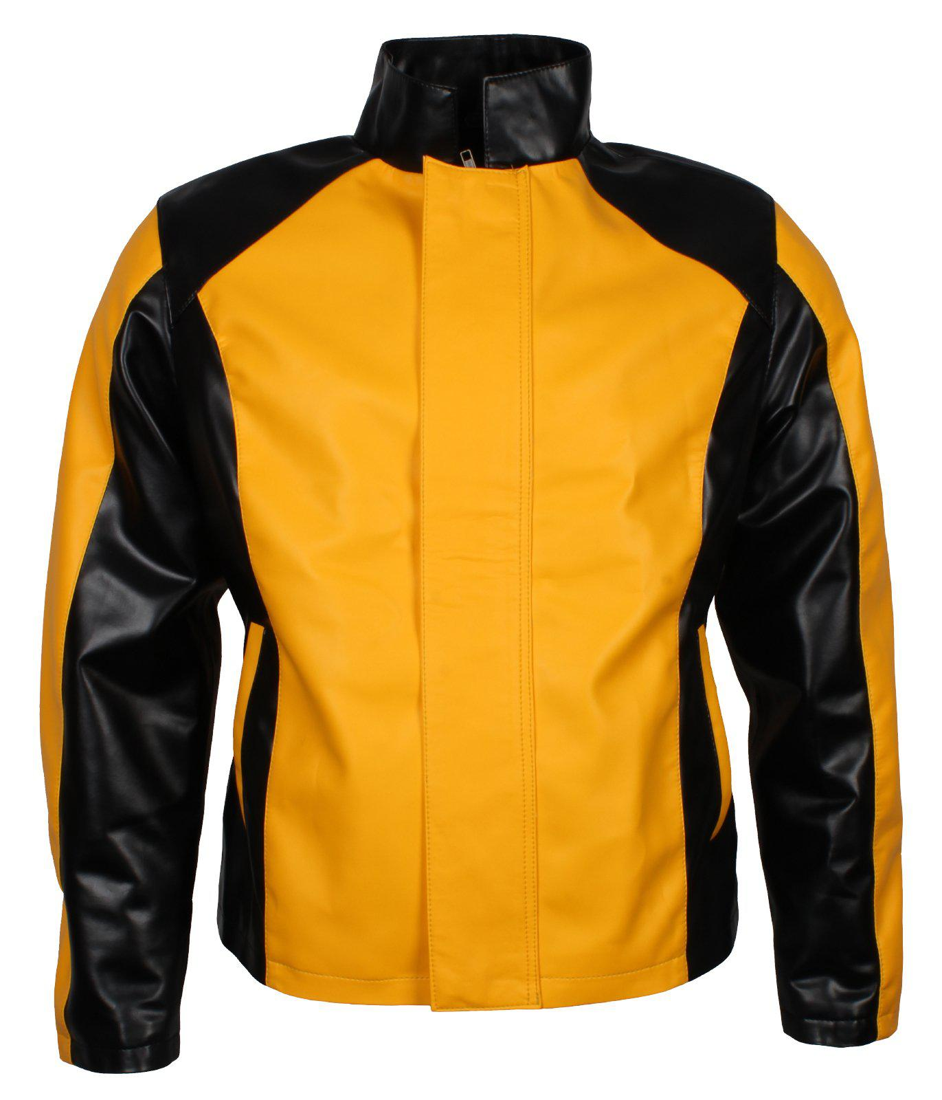 Infamous Cole MacGrath Black and Yellow Men's PU Faux Leather Moto Jacket