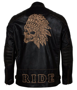 Skull Leather Jacket Engraved for Bikers in leather