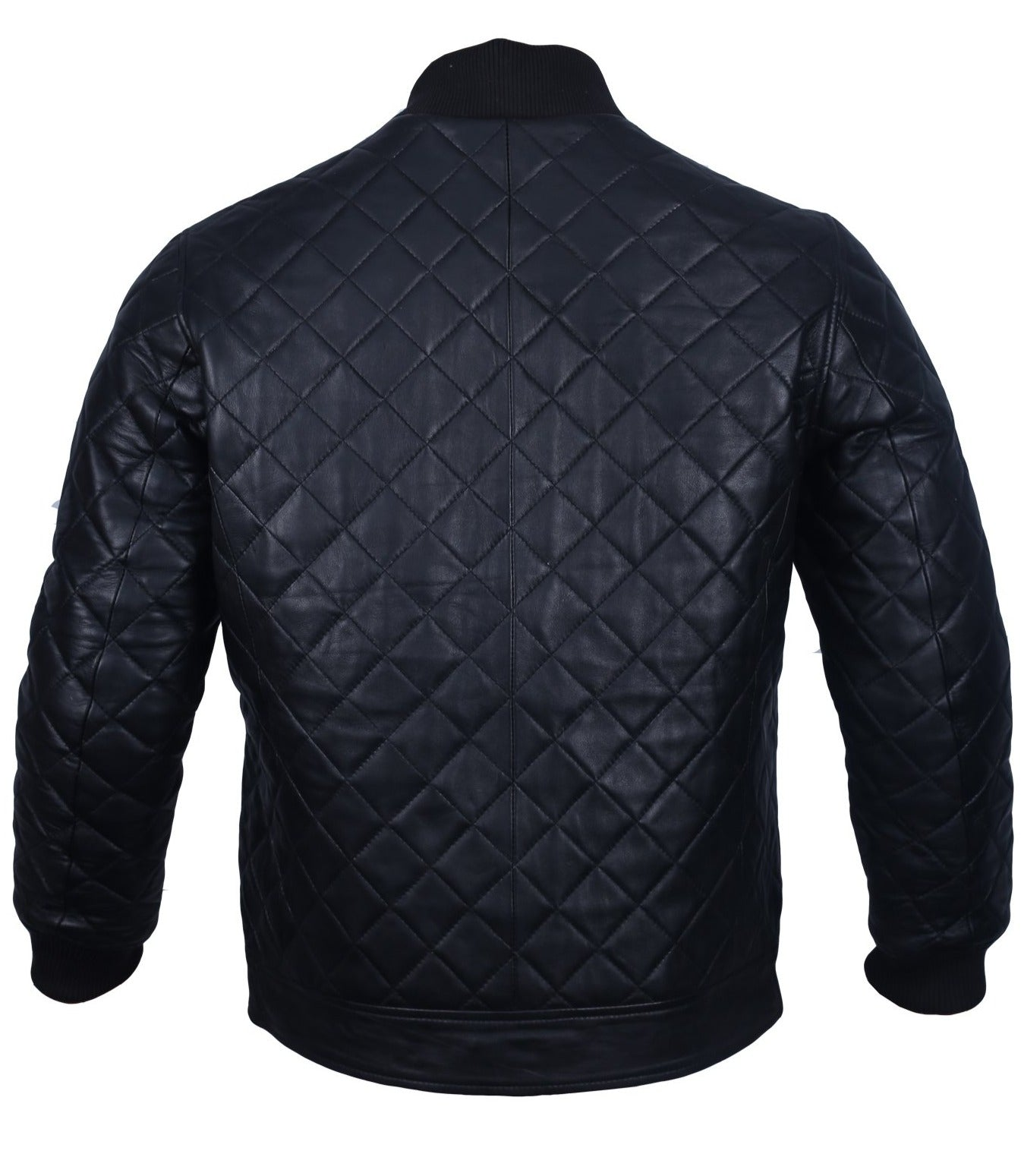 Leather Bomber Jacket Mens Diamond Quilted