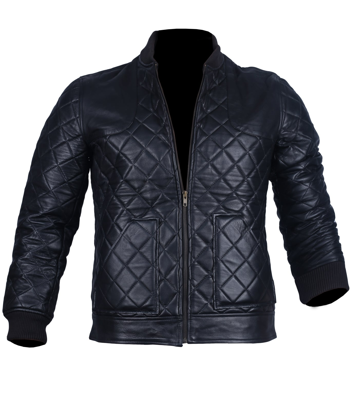Leather Quilted Bomber Jacket Mens