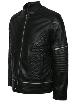 Leather Quilted Moto Jacket Mens Biker