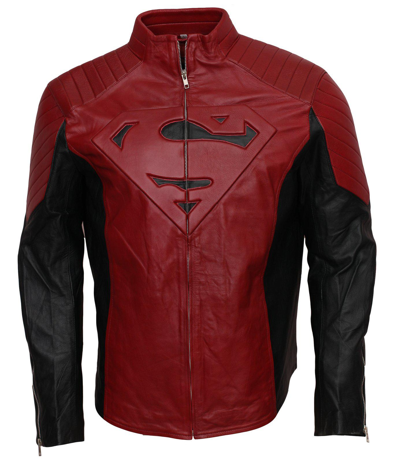 Men's Red and Black smallville tom welling clark kent superman Faux Leather Jacket