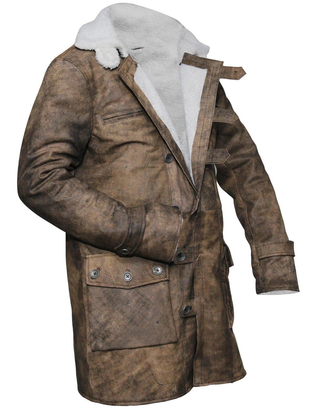 Men's Batman The Dark Knight Rises Tom Hardy Bane Distressed Brown Leather Coat Fur LIned