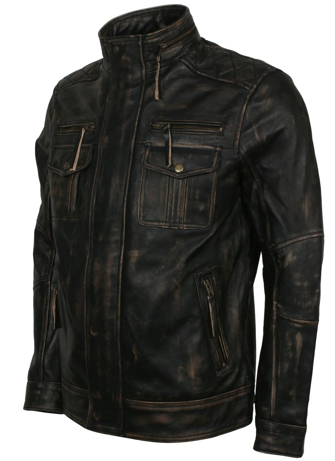 Mens Classic Leather Motorcycle Jacket