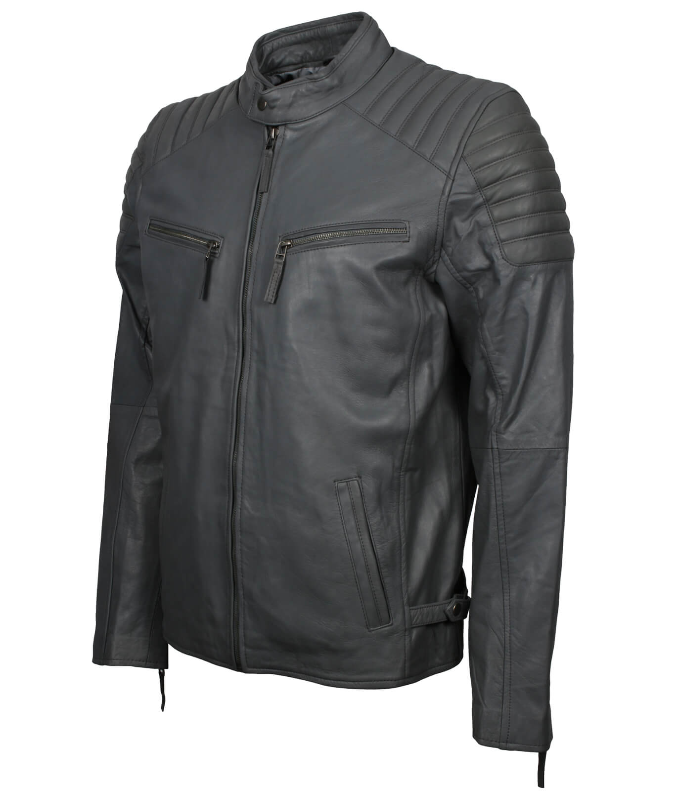 Mens Grey Leather Biker Jacket