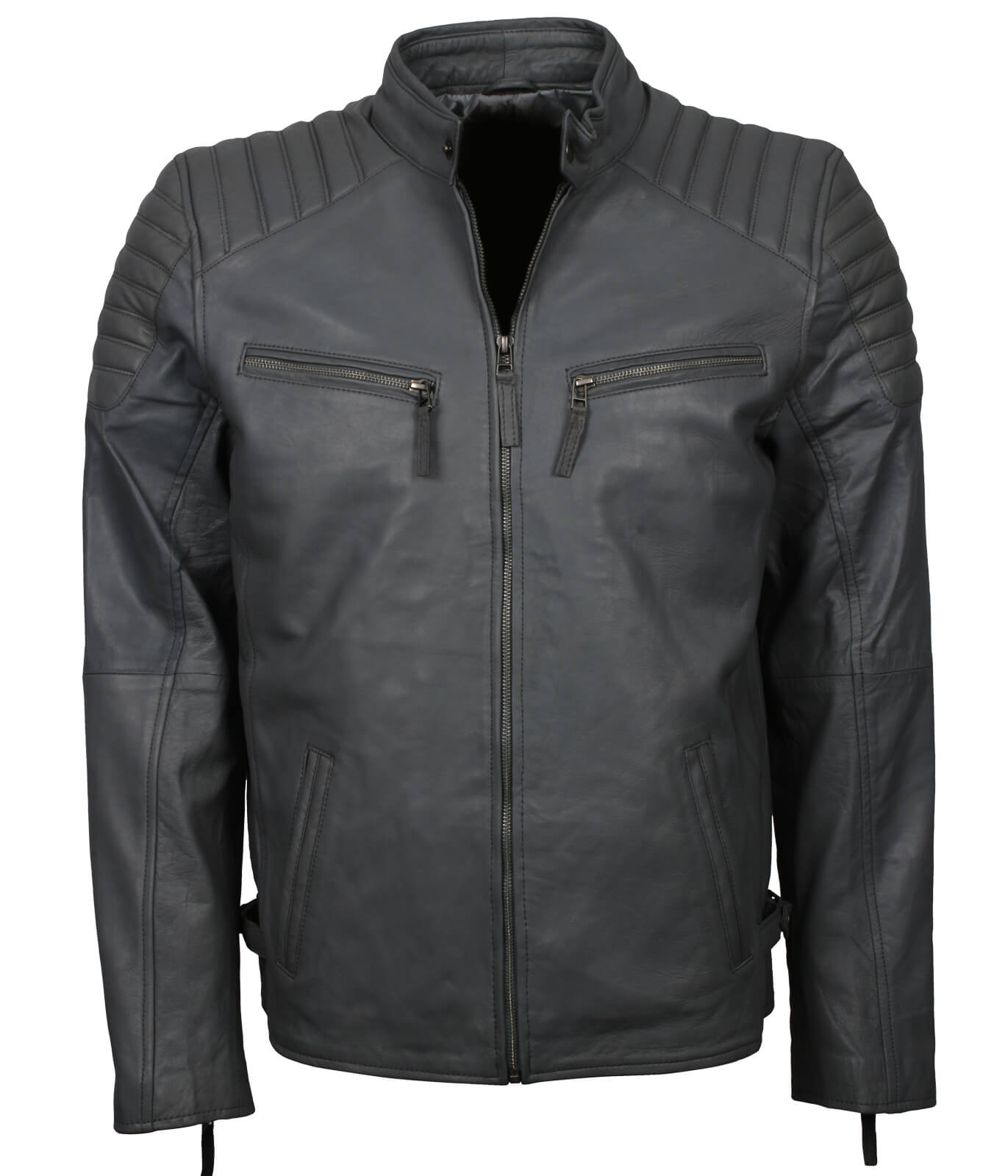 Mens Lightweight Leather Jacket Grey