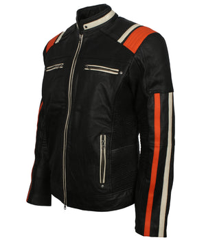 Mens Biker Leather Padded Jacket