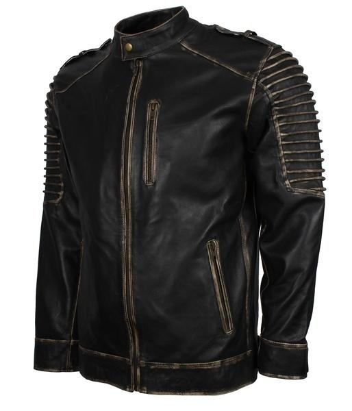 Mens Scarecrow Black Motorcycle Rider Leather Jacket