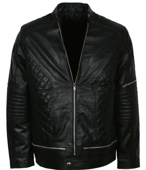 Padded Leather Jacket Mens Biker
