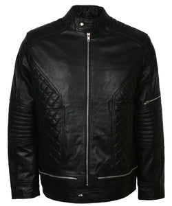 Padded Leather Motorcycle Jacket Mens