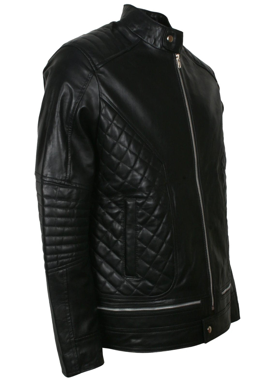 Quilted Biker Jacket Black Leather