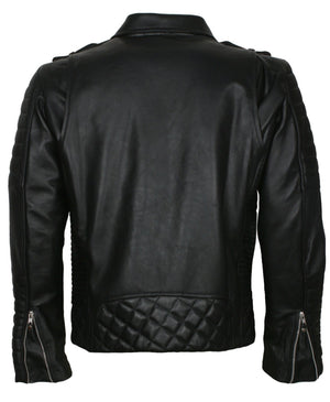 Quilted Leather Jacket Bikers in Leather