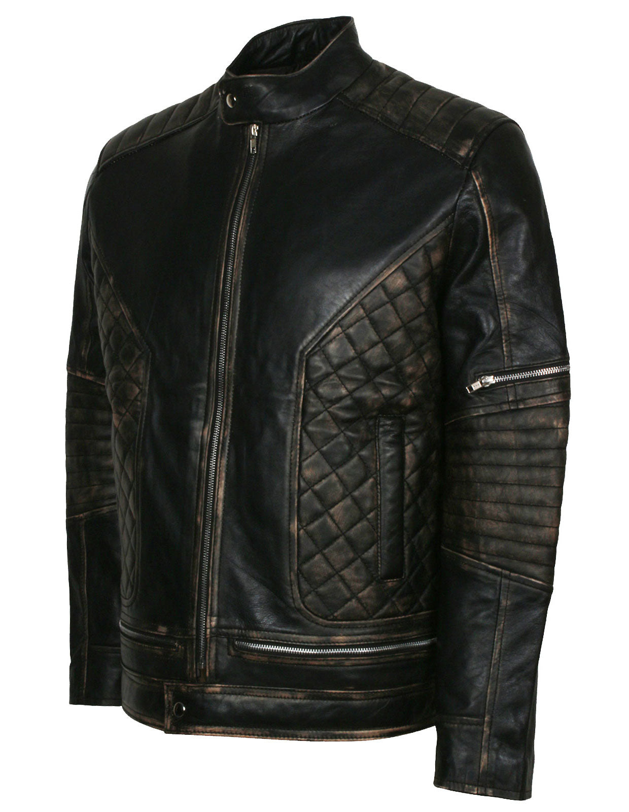 Quilted Motorcycle Jacket Skull Biker