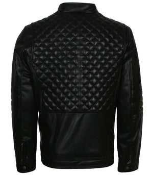 Quilted Real Leather Jacket Mens