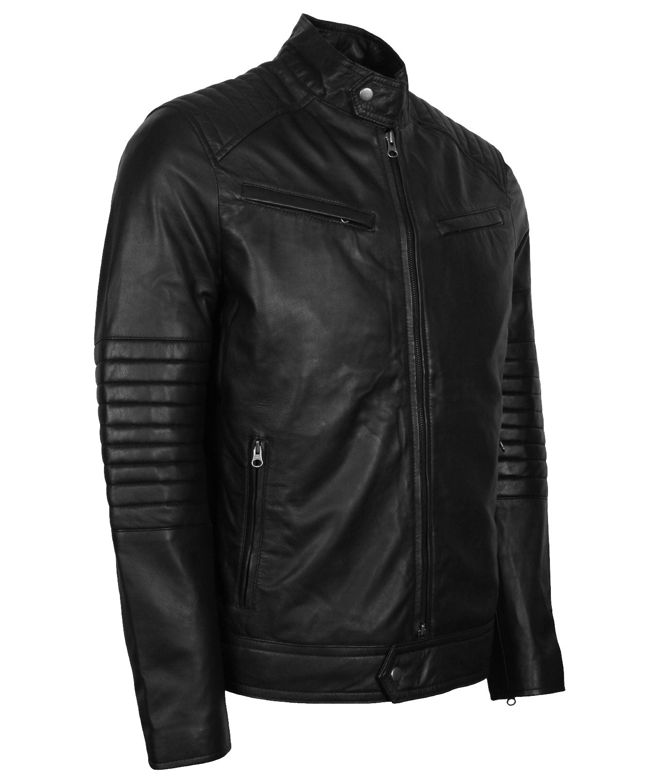 Black Biker Leather Padded Jacket Men