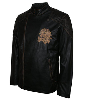 Biker Skull Leather Jacket for Men