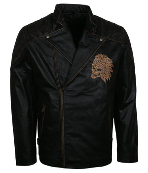 Indian Skull Motorcycle Jacket for Bikers in Leather