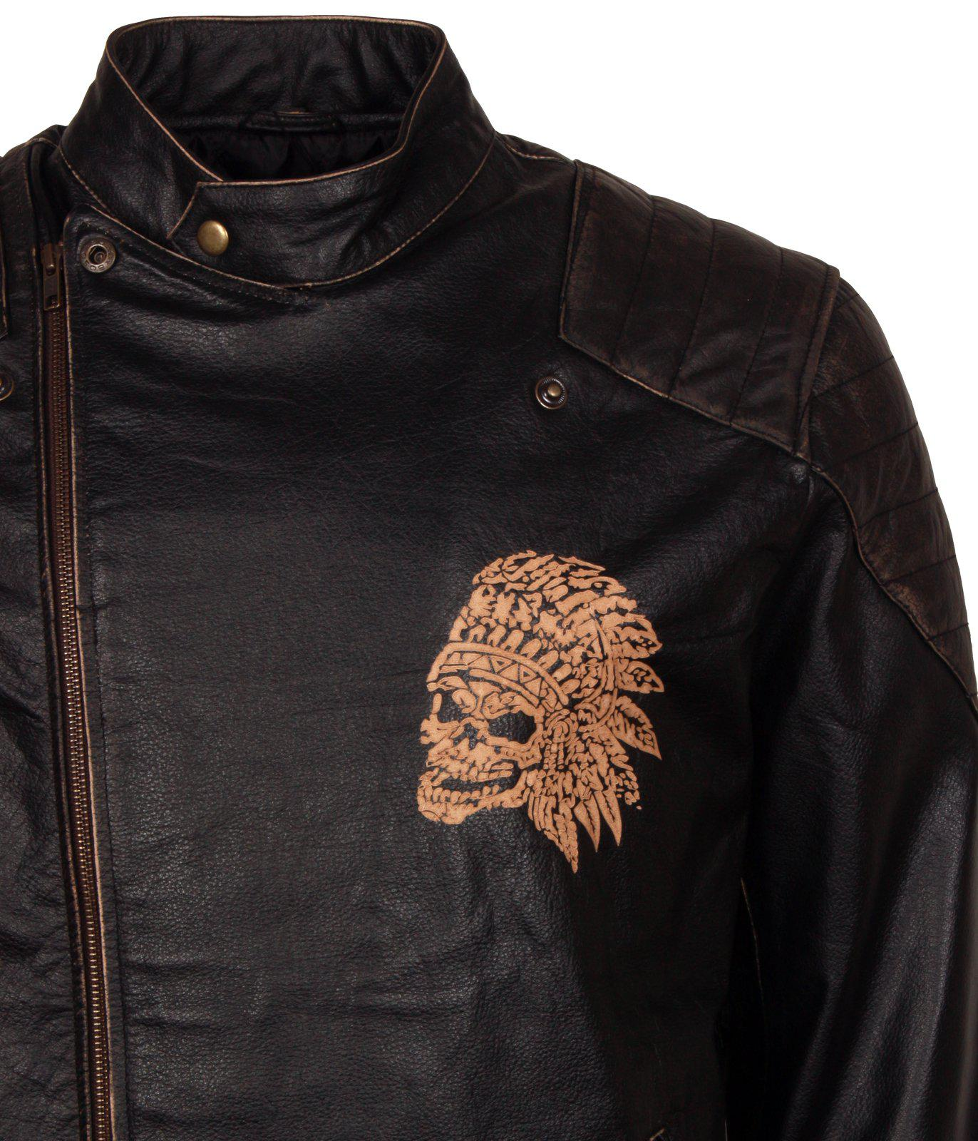 Engraved Red Indian Skull Leather Jacket