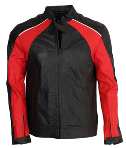Black and Red Motorcycle Leather Jacket