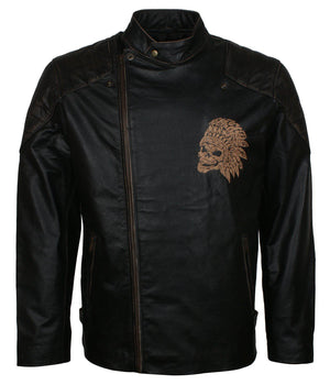 Engraved Indian Skull Leather Motorcycle Jacket