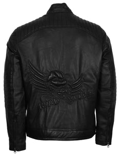 Skull with Wings Road Rebel Motorcycle Jacket Men