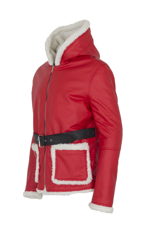Men's Santa Claus Winter Christmas Hooded Fur Lined Red Leather Coat