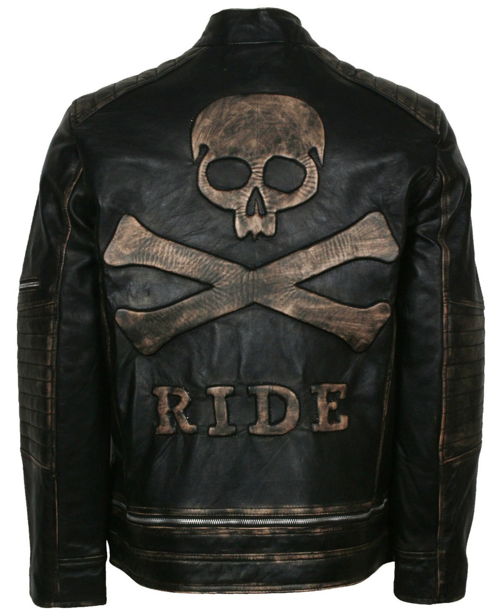 Mens Biker Skull Leather Jacket Distressed Leather