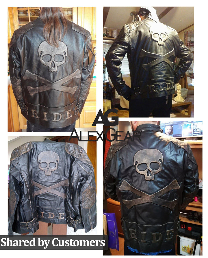 Mens Embossed Skull and Crossbones Motorcycle Leather-jacket
