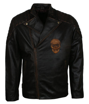 Skull Leather Jacket for Motorcycle Enthusiast