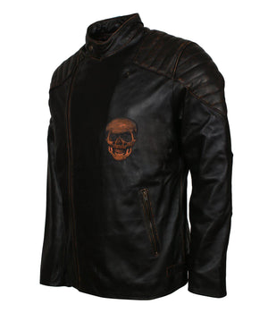 Black Embossed Skull Biker Leather Jacket