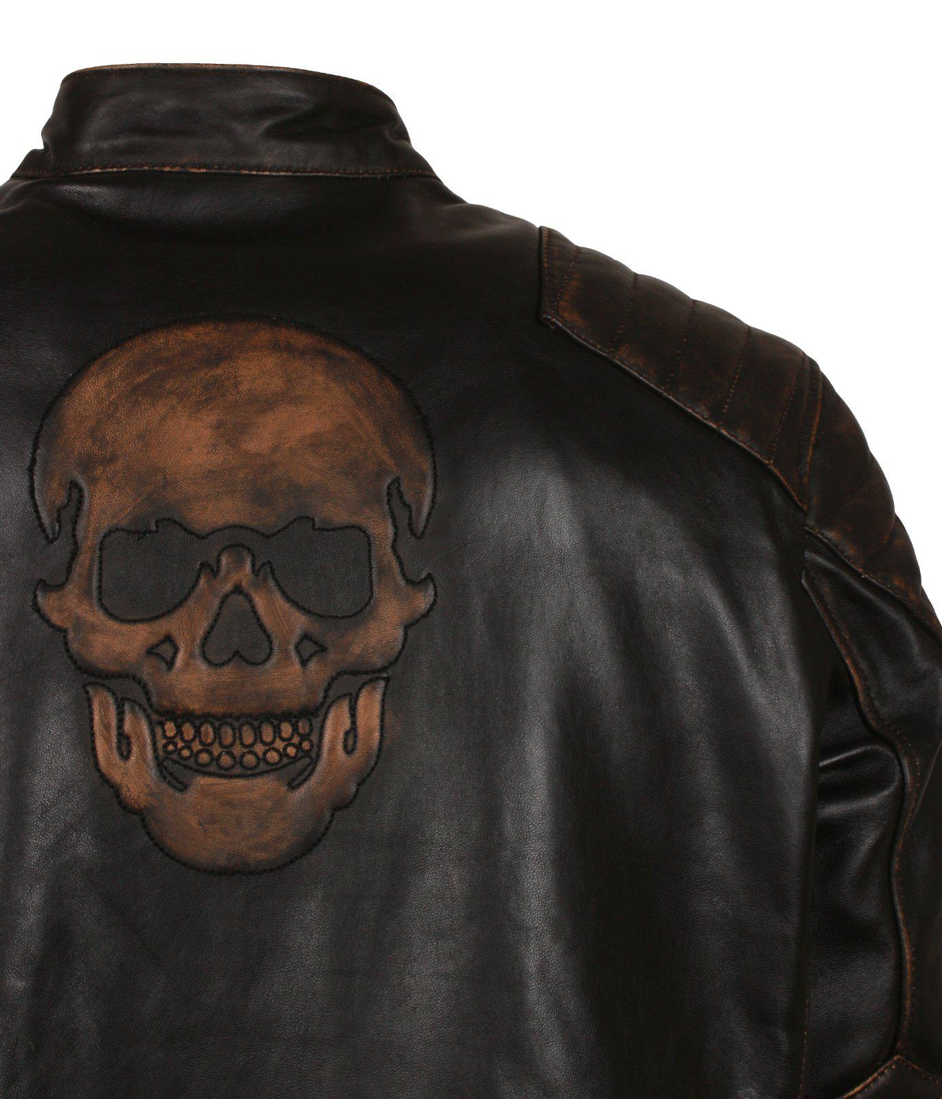 Embossed Skull Ride Black Leather Biker Jacket