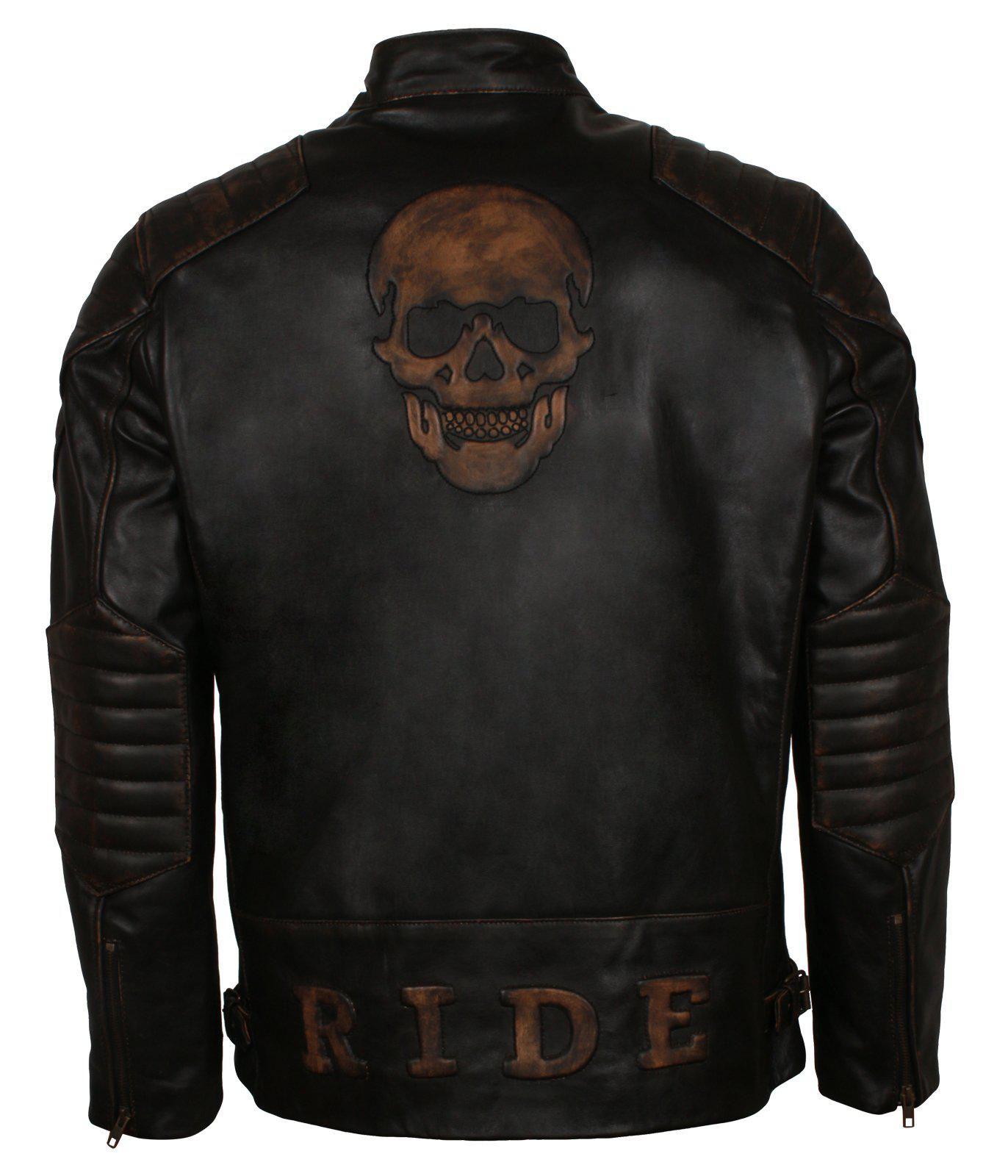 Embossed Skull Biker Leather Jacket