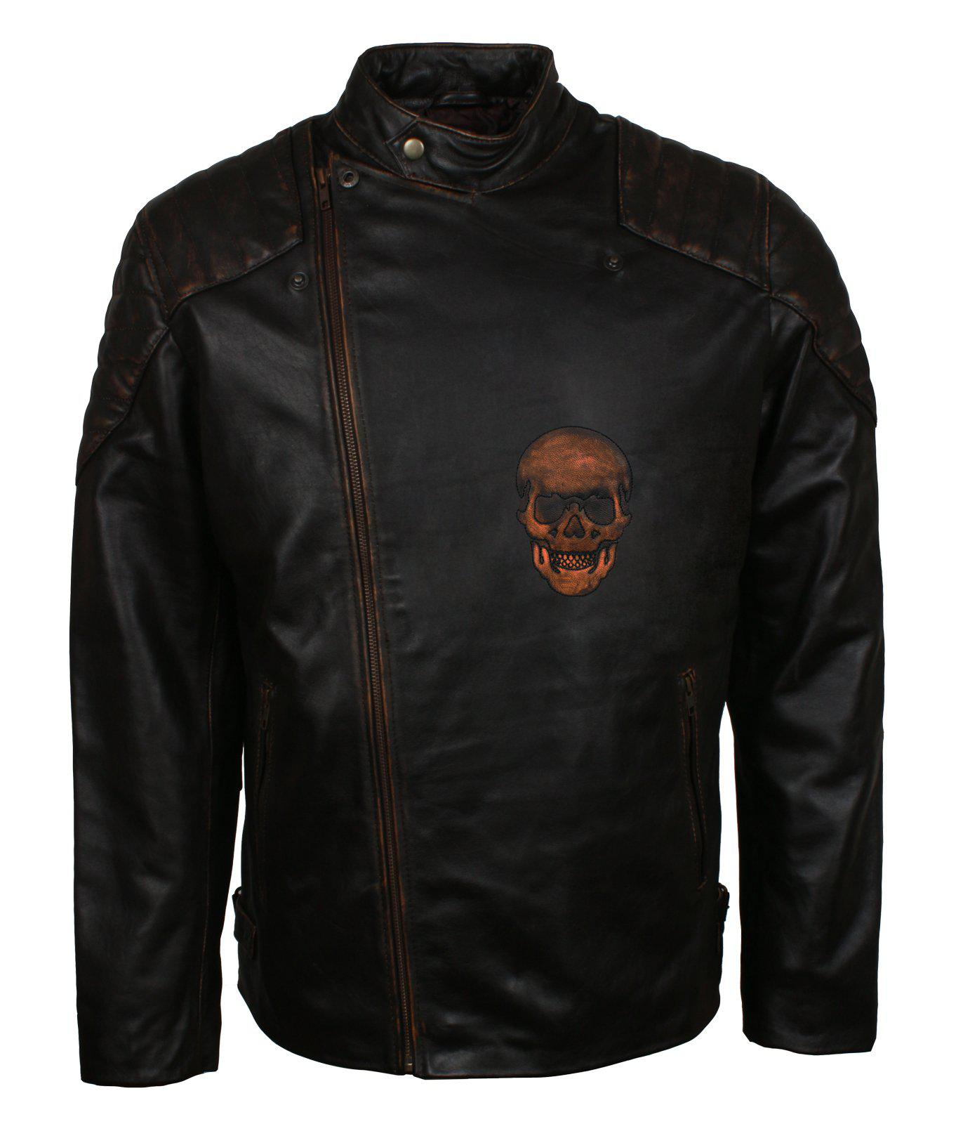 Skull Leather Jacket for Bikers in Black