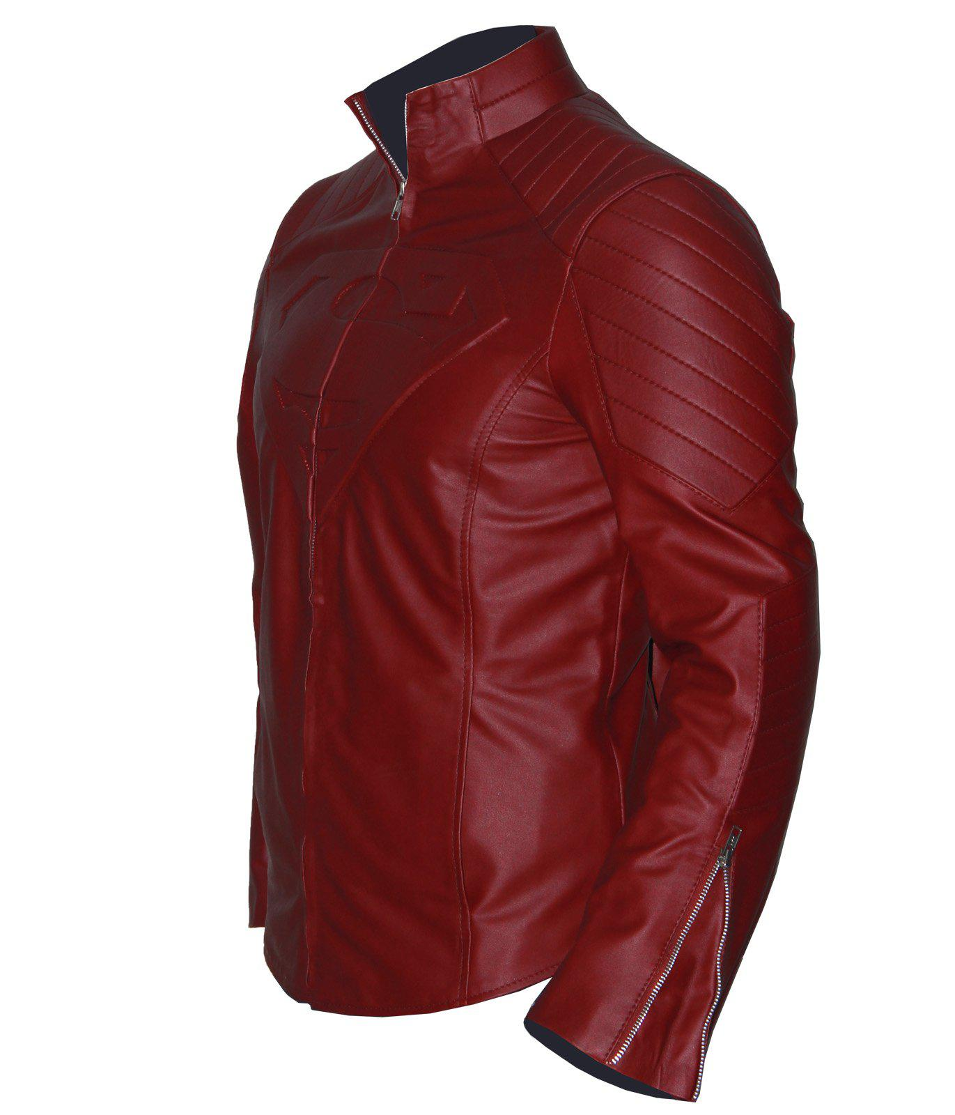 Red Smallville Tom Welling Clark Kent Superman Leather Jacket