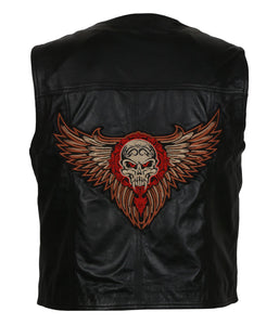The Warriors Men Skull Fire Wings Embroidered Black Motorcycle Leather Vest