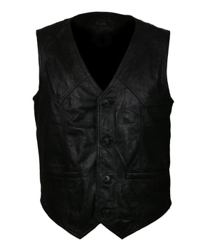 The Warriors Skull Black Leather Cosplay Vest