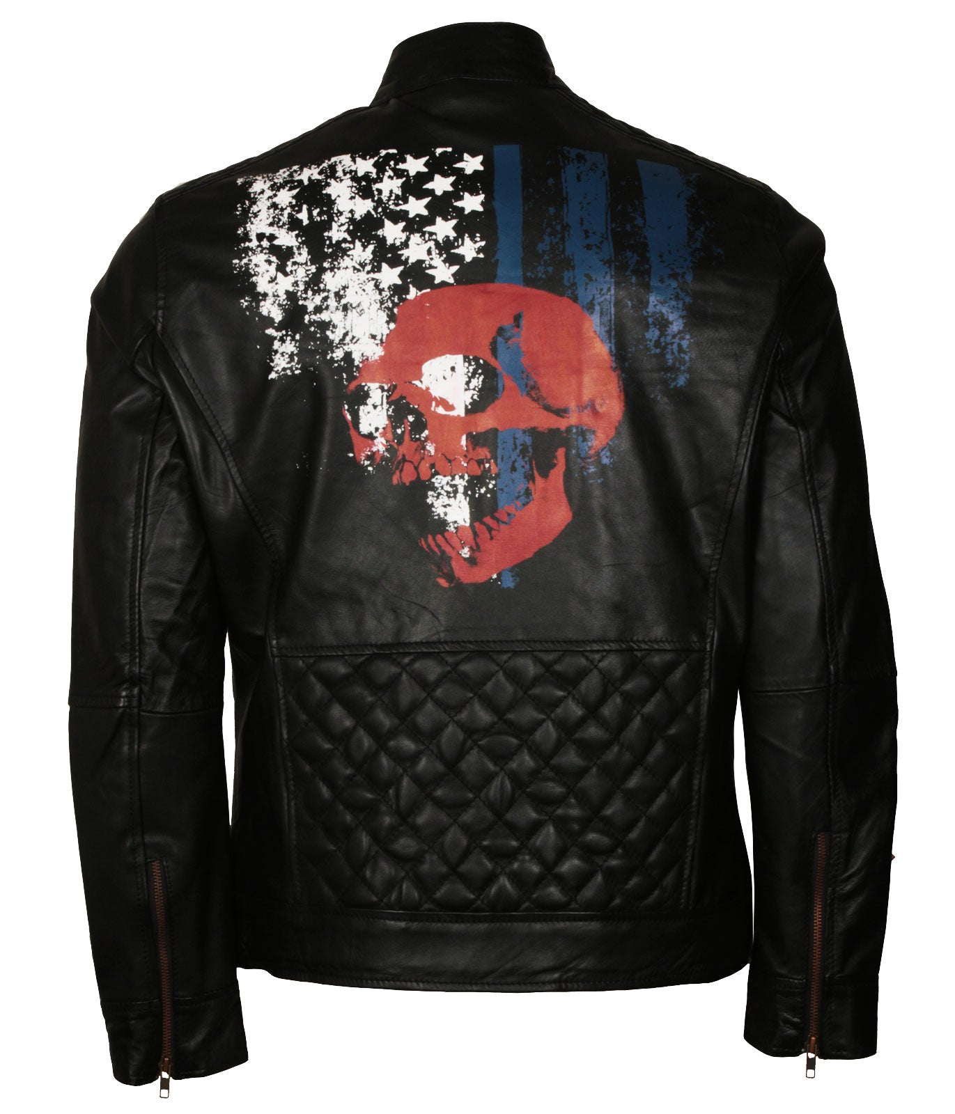 American Flag Skull Leather Jacket