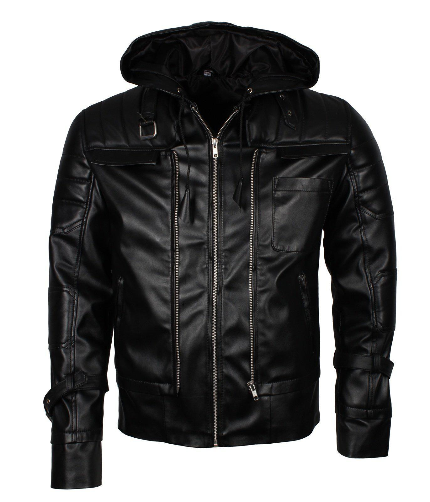Batman Leather Jacket with Hood