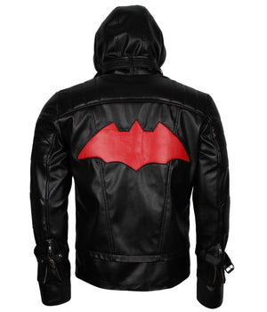 Red Hood Batman Arkham Knight Leather Jacket in Black