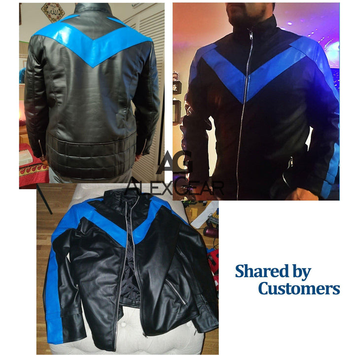Men's Black Arkham Knight Nightwing Faux Leather Jacket