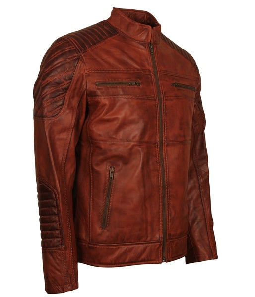 Brown Leather Distressed Biker Jacket