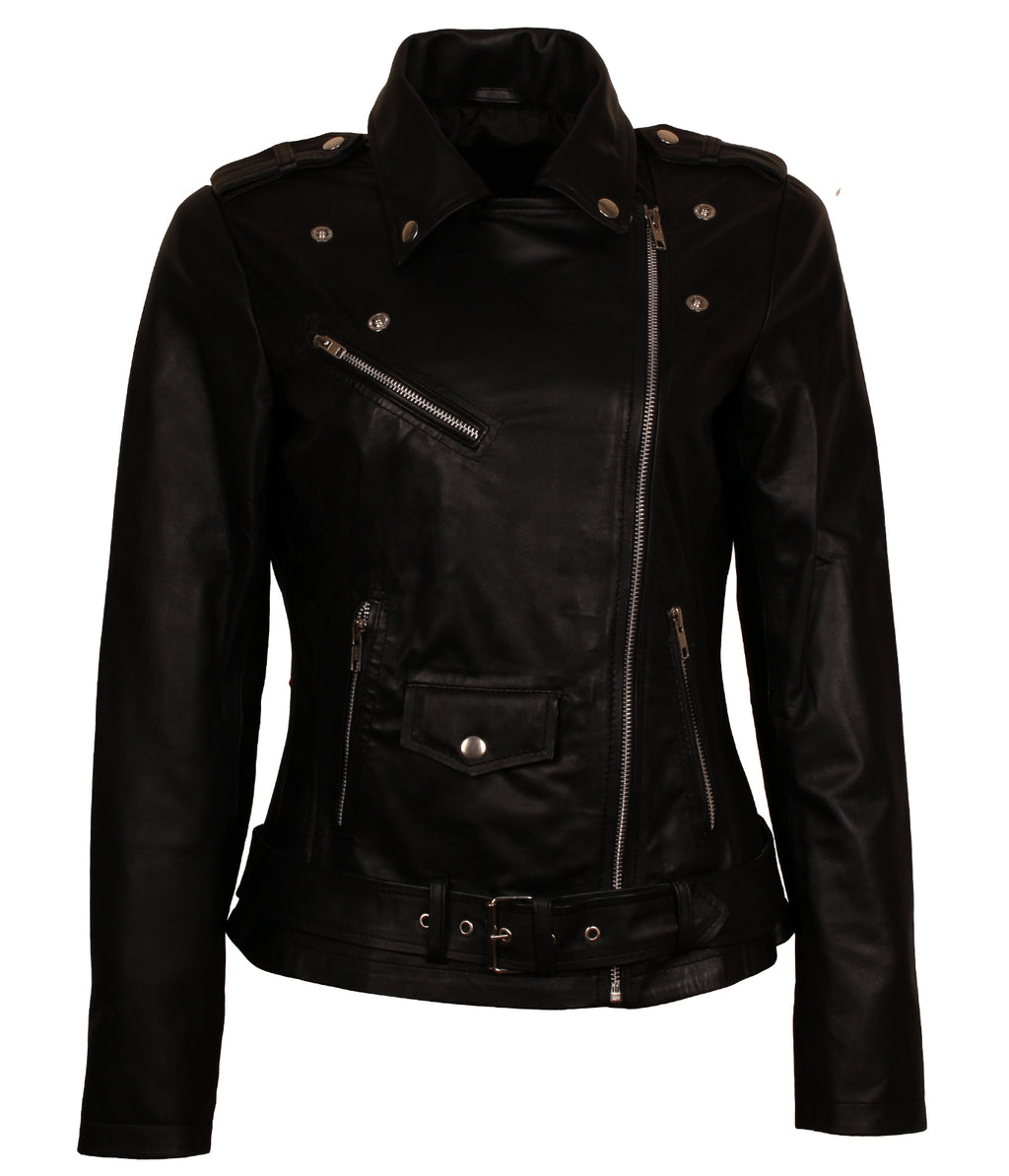 Black Belted Leather Jacket Women Bikers