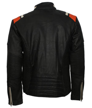 Black Retro Men's Biker Leather Jacket with Stripes