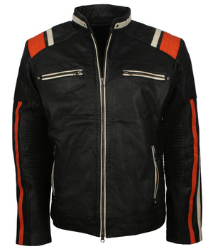 Black Retro Motorcycle Jacket Mens