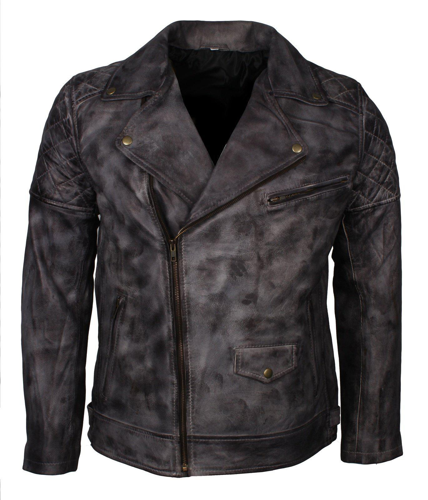 Dark Grey Motorcycle Motocross Leather Jacket