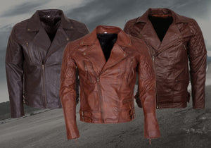 Mens Brown Leather Jacket for Biker