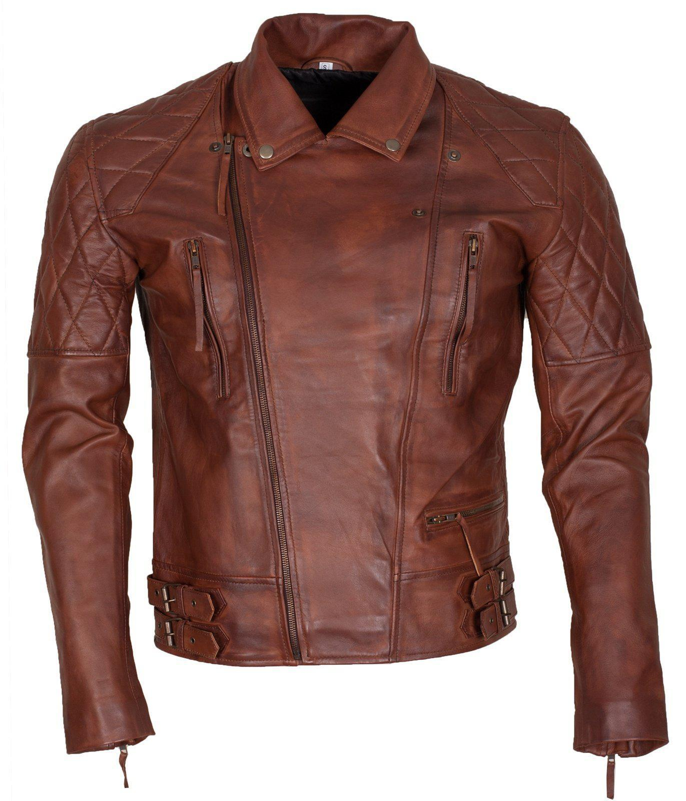 Brown Leather Jacket for Bikers
