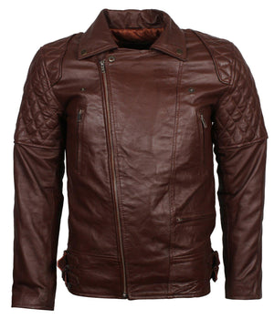Brown Leather Diamond Quilted Jacket